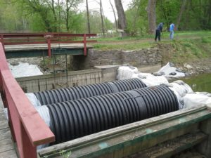 These pipes are allowing water to flow through the damaged Kleinhans Aqueduct.