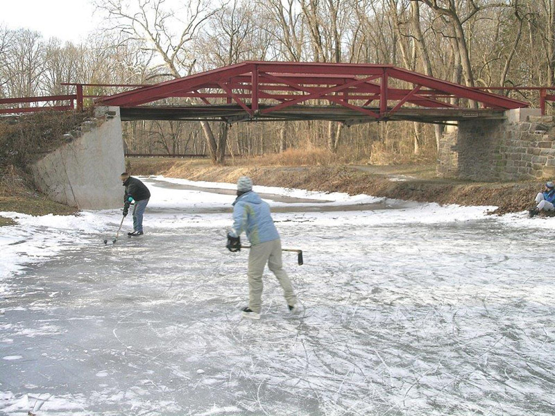 ice hockey on the canal