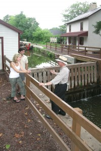 tourists at lock 11. delaware canal in new hope