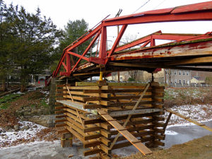 Woody's Camelback Bridge is jacked up and ready for timber work.