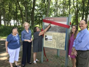 ribbon Cutting for new interpretive Canal signs in Bristol Borough