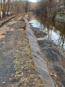 River flooding damaged the towpath banks south of Easton